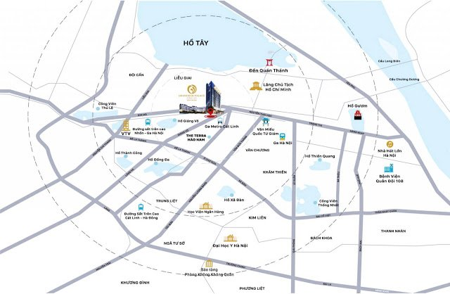 Vị trí dự án grandeur palace trên bản đồ, ngay trung tâm hà nội