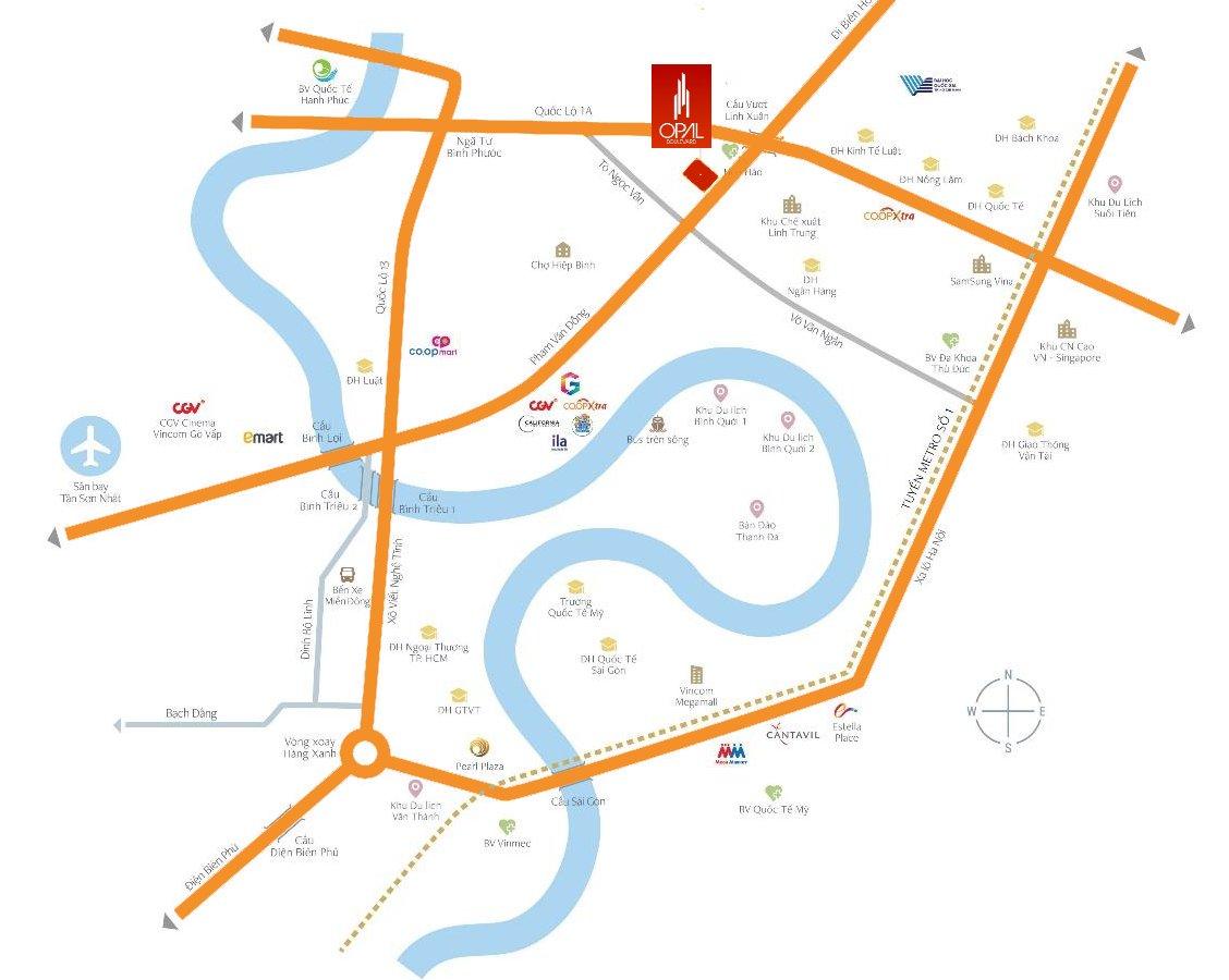 Vị trí dự án Opal Boulevard Phạm Văn Đồng