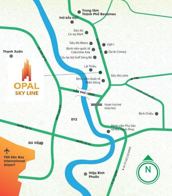 Vị trí dự án Opal Skyline trên bản đồ