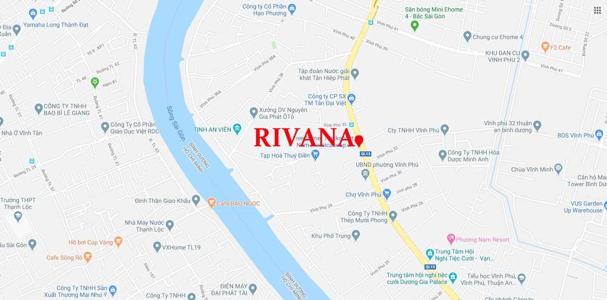 vị trí dự án Rivanna Thuận An