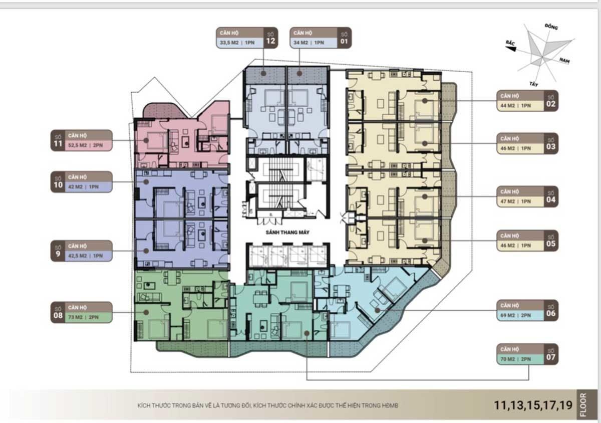 Mặt bằng tông thể căn hộ tầng 11, 13, 15 the light phú yên
