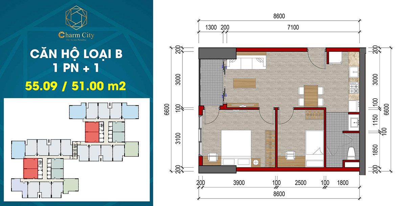 Charm City Bình Dương căn hộ loại B
