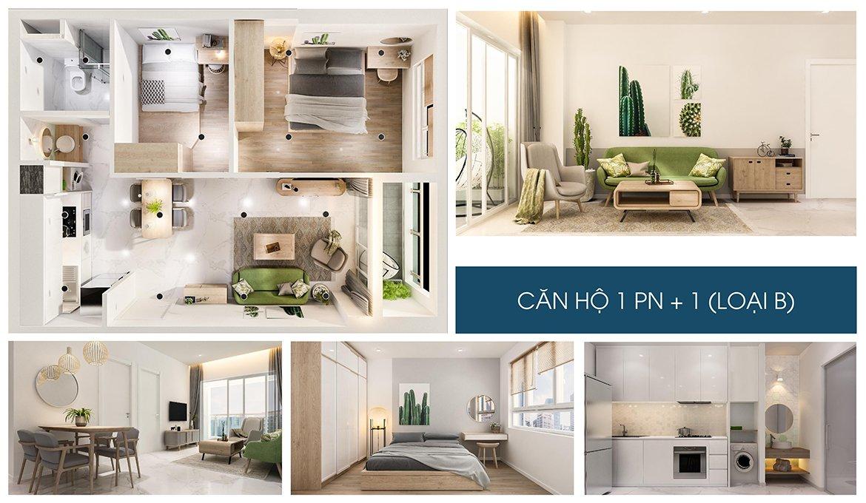 Charm City Bình Dương nhà mẫu căn hộ 1  phòng ngủ