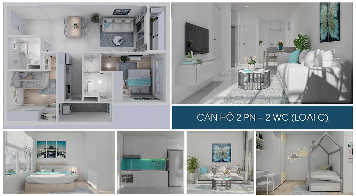 Charm City Bình Dương nhà mẫu căn hộ 2 phòng ngủ