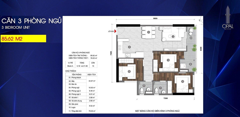 Căn hộ 3 phòng ngủ tại Opal Skyline
